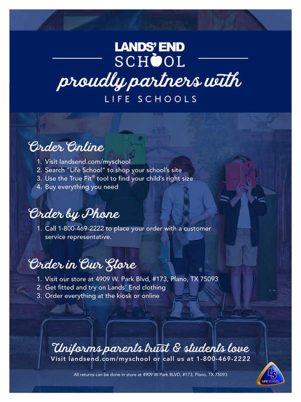 Lands End School Proudly Partners with Life School. Order online, by phone or in store.