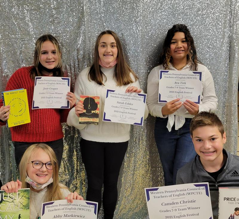pic of English festival winners with certificates