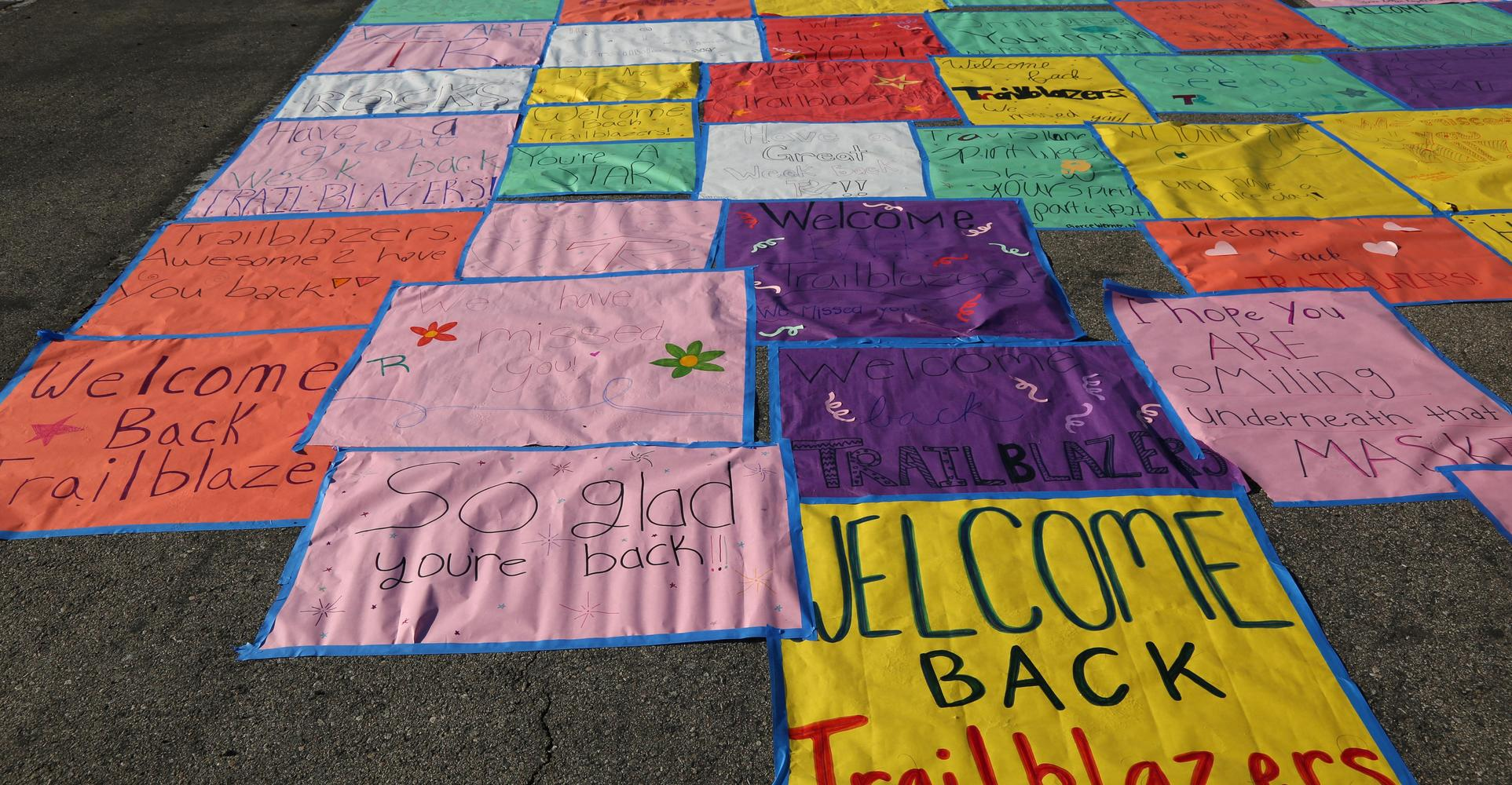 Welcome back signs were a large part of increasing campus morale.