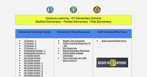 D-7 Elementary School Distance Learning Portal Featured Photo