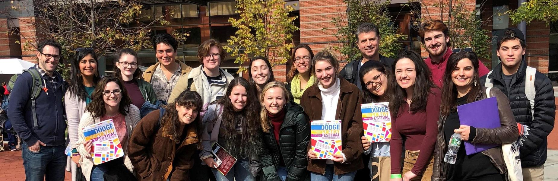 """WHS students and staff attend the Dodge Poetry Festival in Newark on Oct. 19, a celebration of eminent poets from the late 20th and early 21st centuries. """"My hope is to help students see that poetry is still an important, vital, and living art form and not one relegated to old texbooks,"""" says English teacher David Della Fera."""