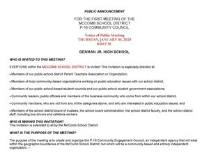 Public Announcement: First meeting of the McComb School District P16 Community Council 2020