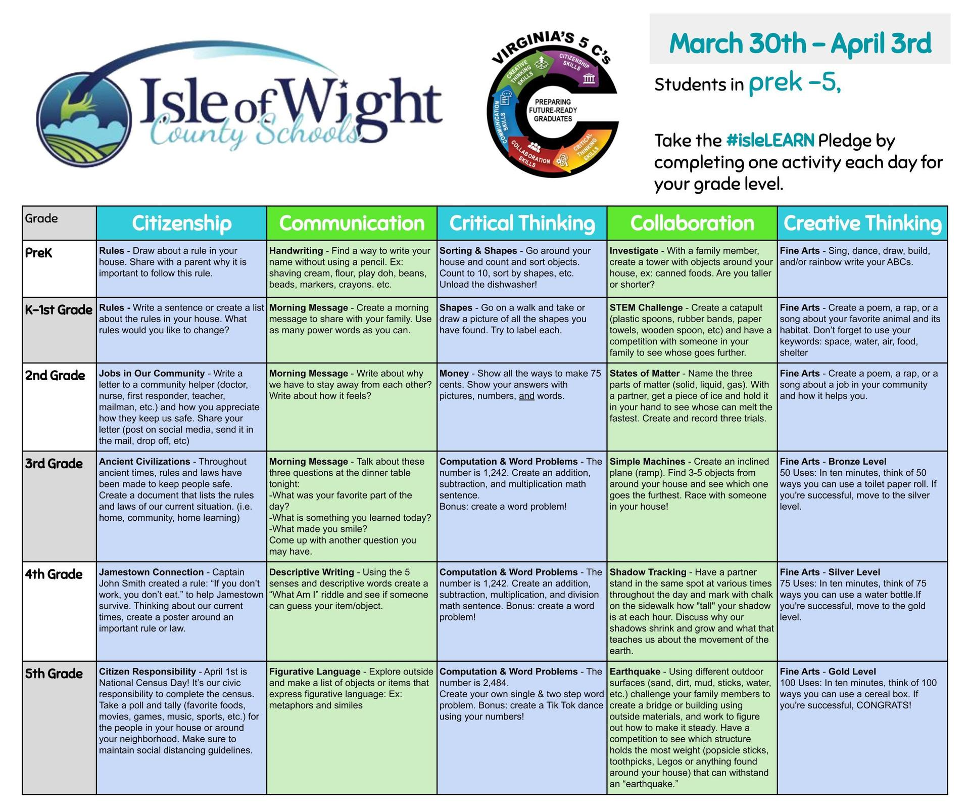 #isleLEARN Pledge with a variety of activities.  Students should choose one per week per grade level.