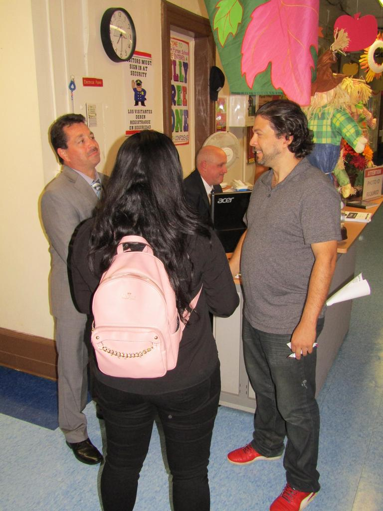 Principal Celebrano welcoming parents into the building