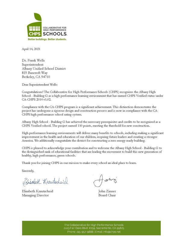 Photo of CHPS Letter