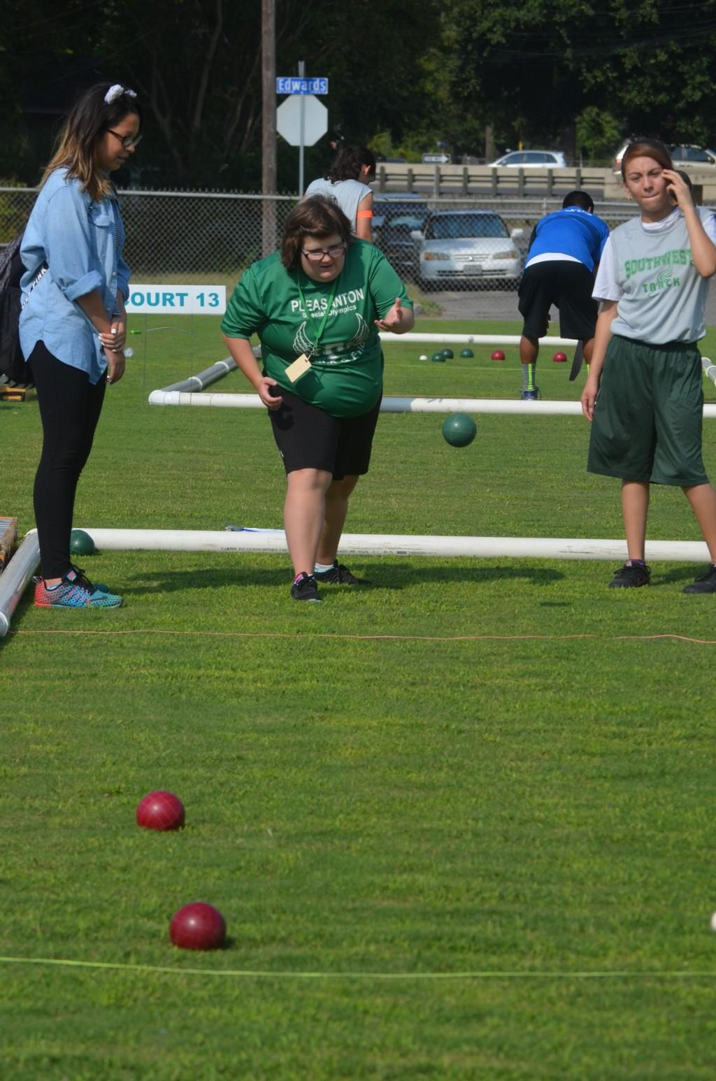 Throwing a bocce ball