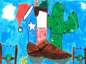 Elementary winner showing a holiday Texas Boot and cactus