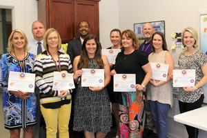 Pictured from left to right are members of the 2018-2019 Leadership 3.0 Cohort:  Angie Mishoe, Eric Gambrell, Andrea Derrick, Dr. Randall Gary, Samantha Kennedy, Era Roberts, Sharah Clark, Grig Sawyer, Ashley Fort and Mackenzie Taylor.  Not pictured:  Maggee Ellis, Amy Bedenbaugh and Robbin Swygert.