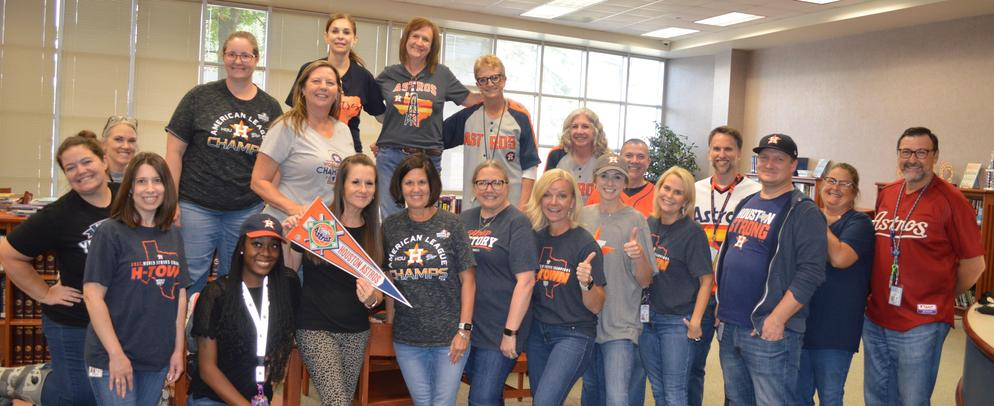 Faculty with Astros Shirts