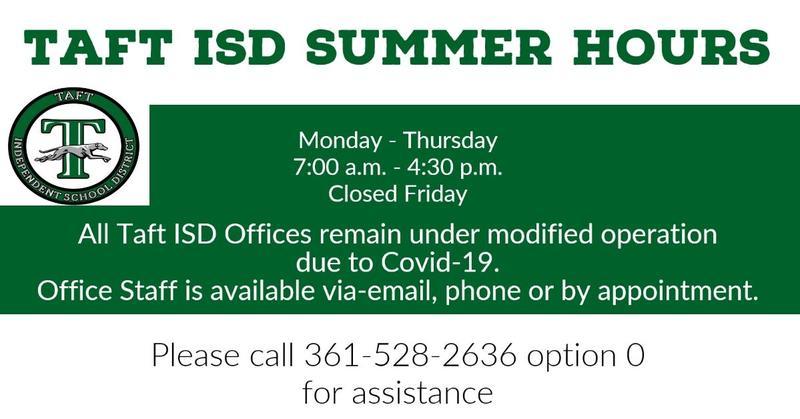 Taft ISD Summer Hours Featured Photo