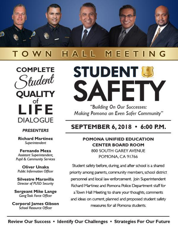Student Safety Town Hall Meeting on September 6, 2018 Flyer