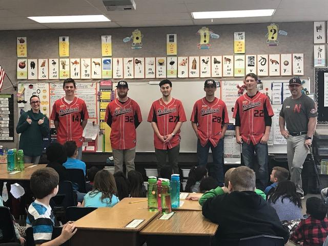 NNU baseball players visit 2nd grade