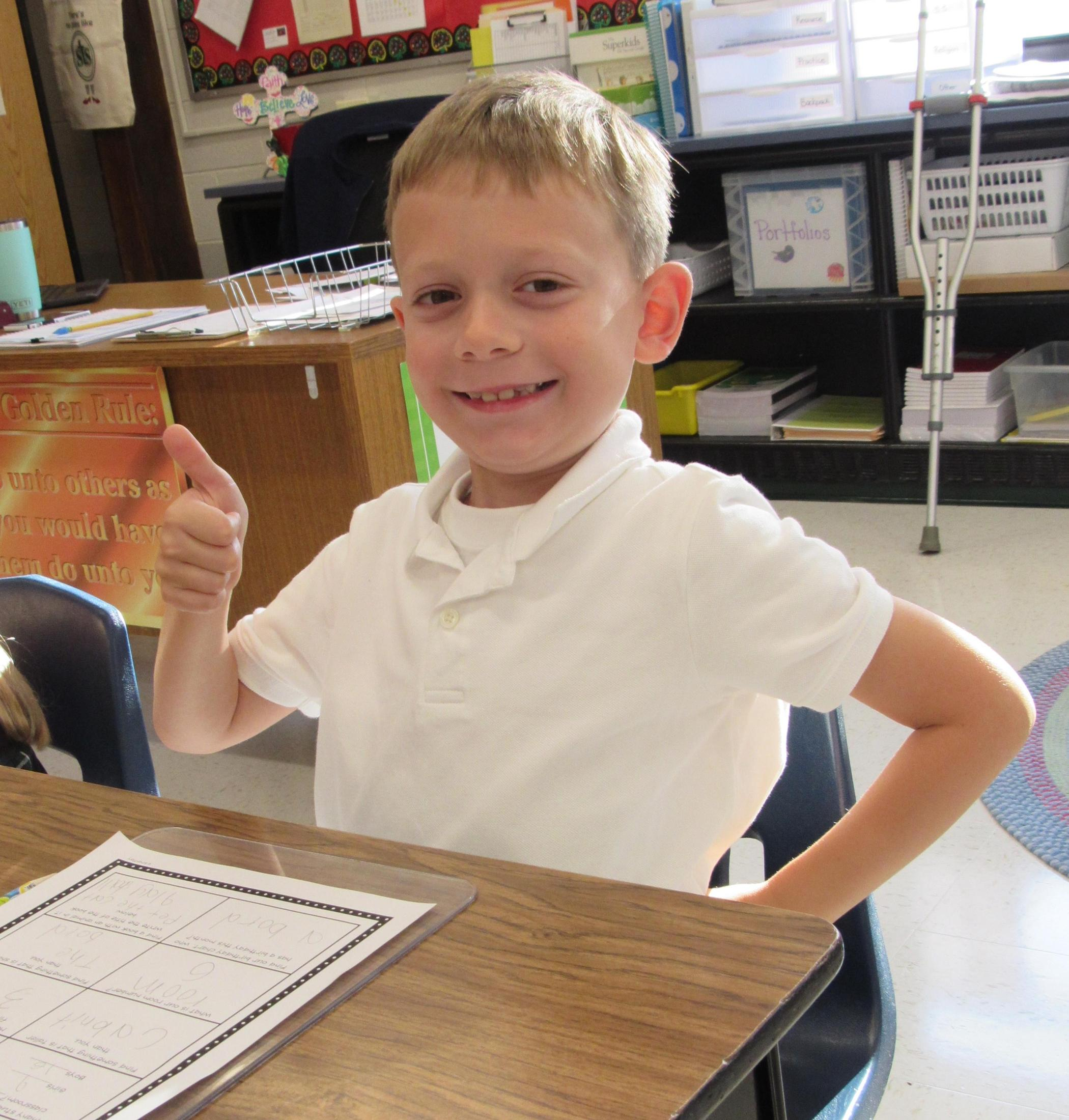 thumbs up for 2nd grade