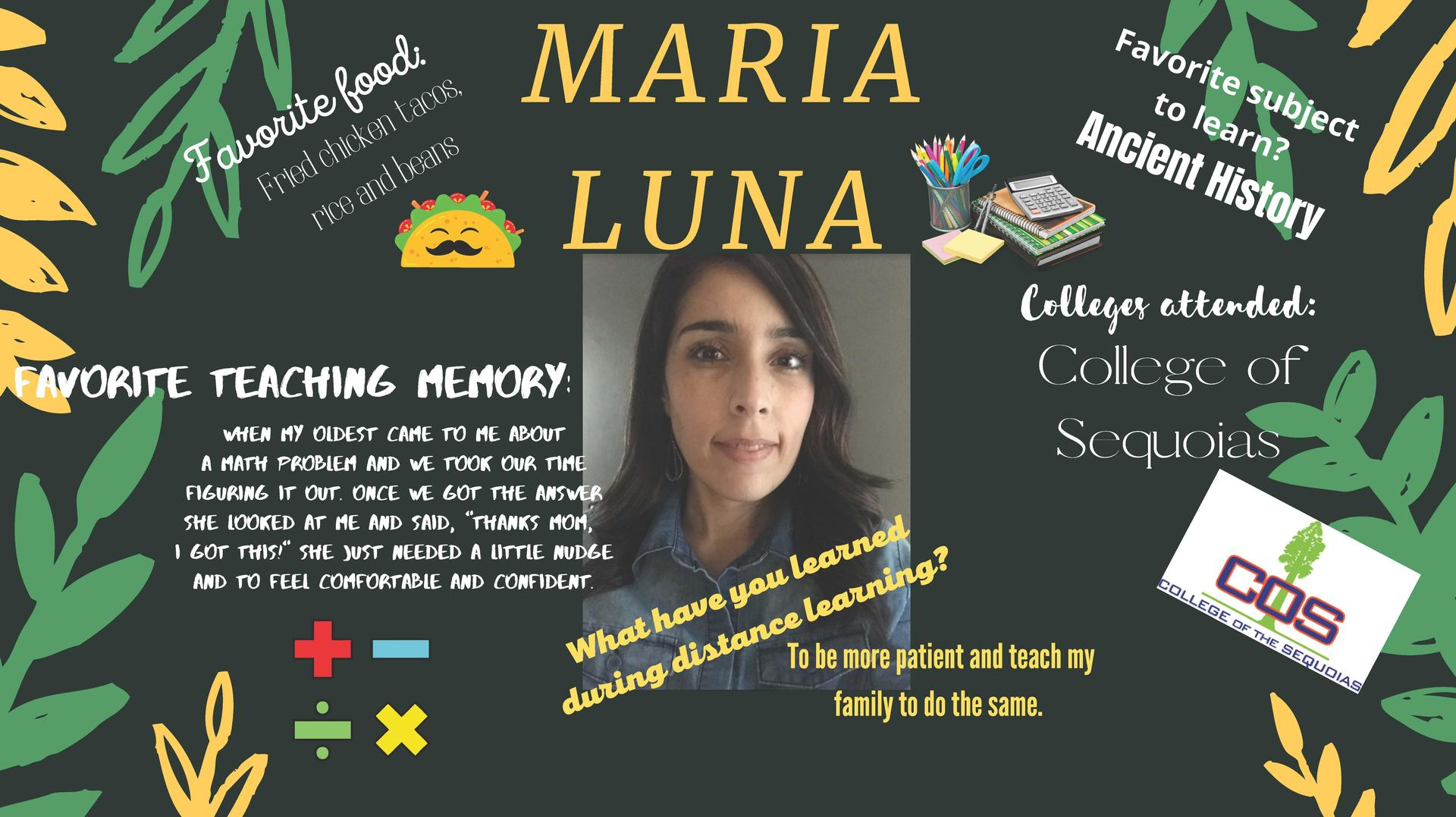 Mrs. Luna Staff Member of the Week 10/26-10/30/20