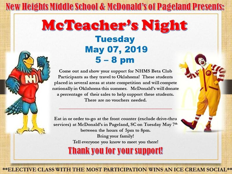 NHMS McTeacher's Night at McDonald's in Pageland - Tuesday, May 7 / 5-8 pm Featured Photo