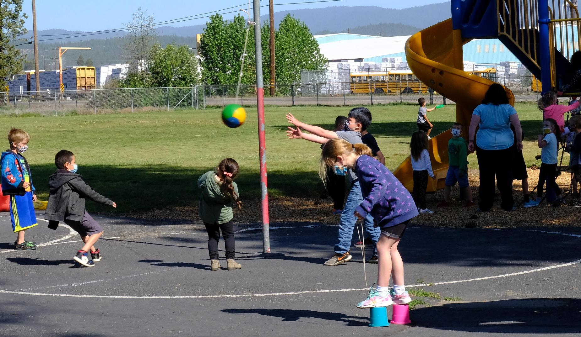 QES students play outside at recess