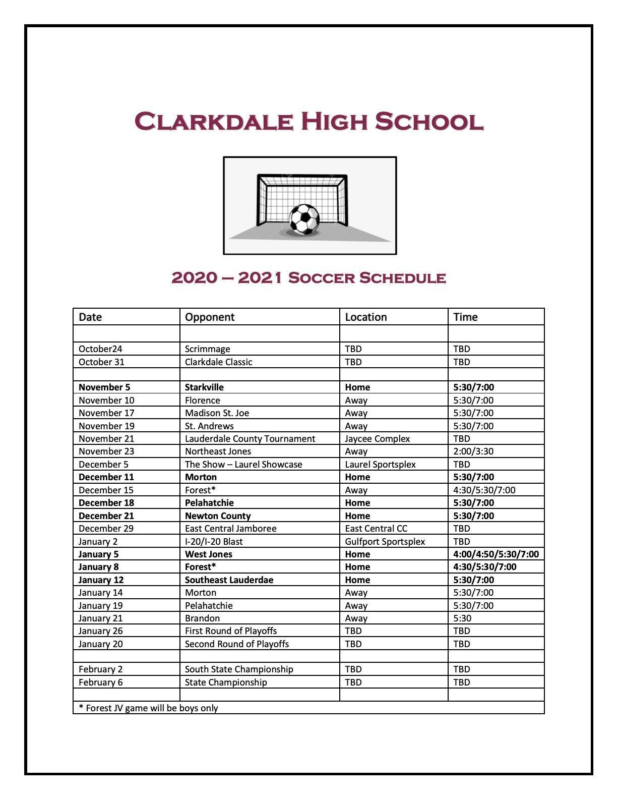 CHS Soccer Schedule