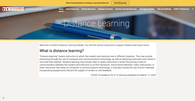 AUSD Distance Learning Resources Featured Photo