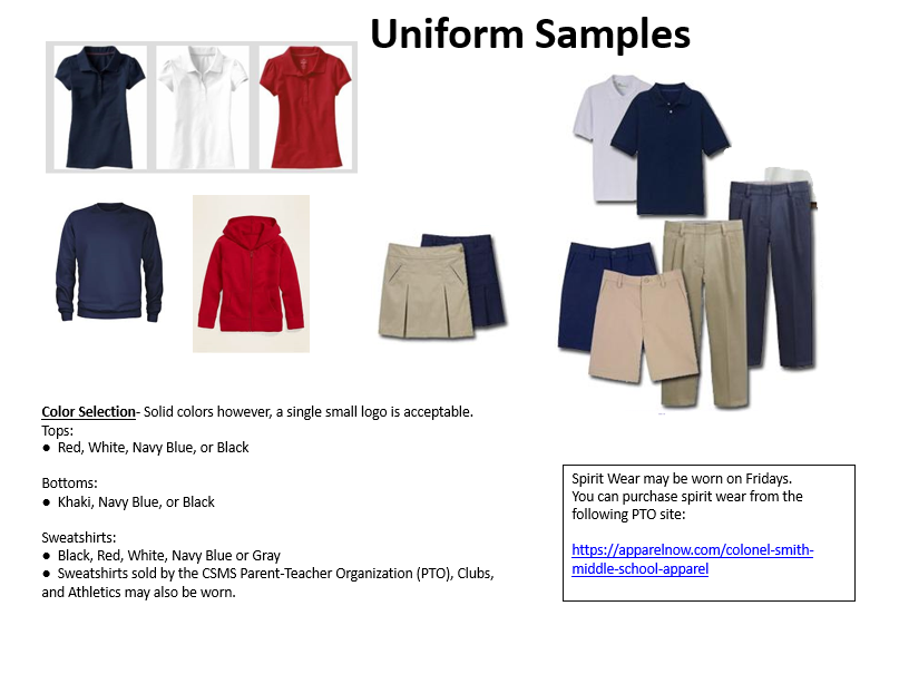 Pictures of acceptable school uniforms