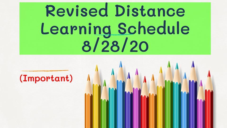 2020-21 Revised Distance Learning Schedule Image