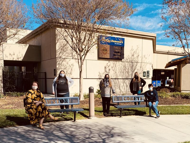 Cawston Elementary's Reengagement Team in front of the school.