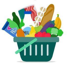 Grocery basket of food items.