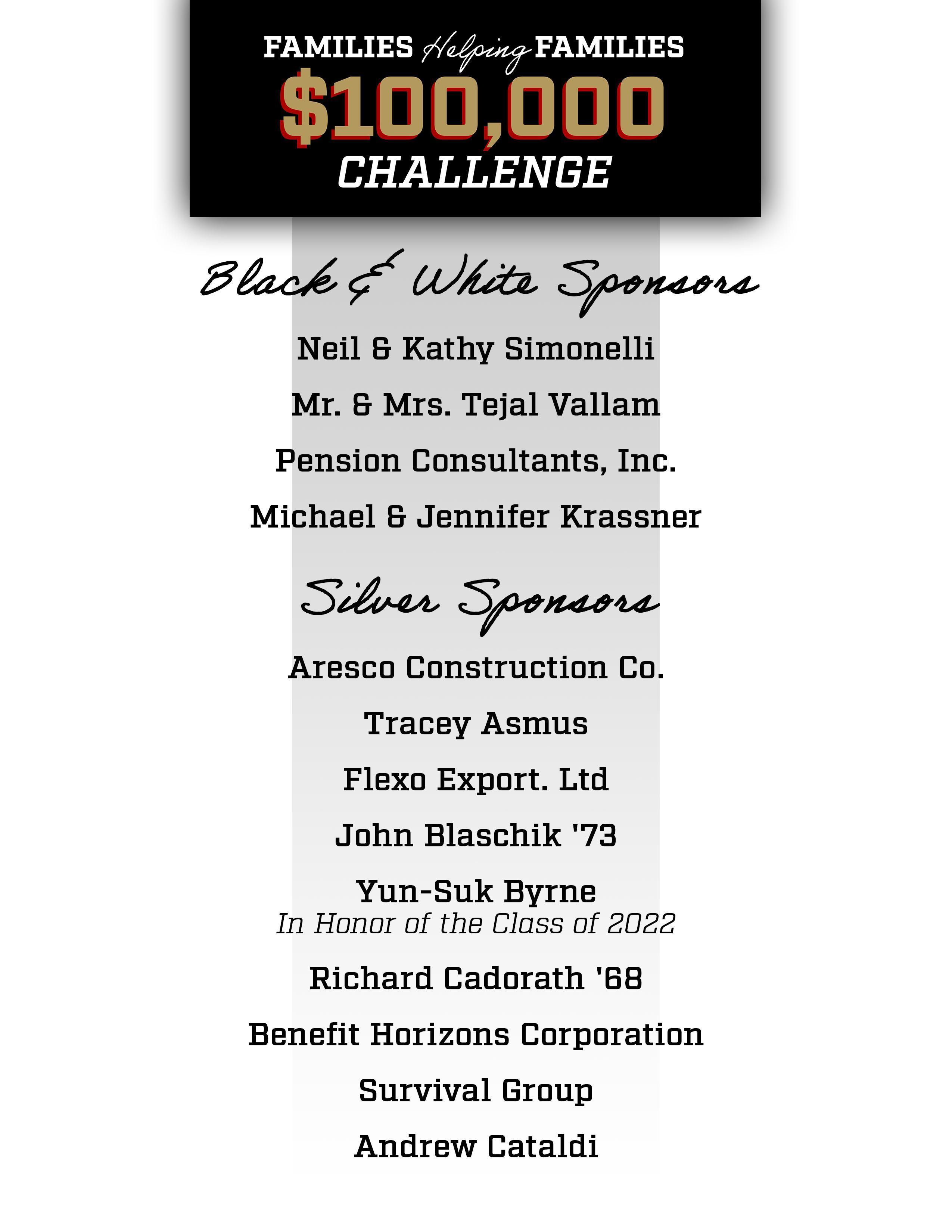 FHF Sponsors for $100,000 Challenge