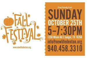 Fall festival New Life Church October 25th 5-7:30pm