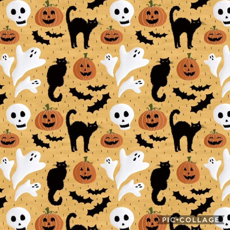 Halloween image of black cats, ghosts, bats, and jack-o-lanterns