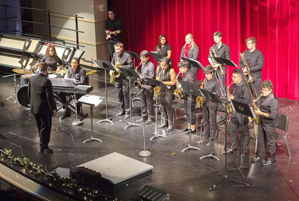 A wide angle, slightly overhead view of the jazz band