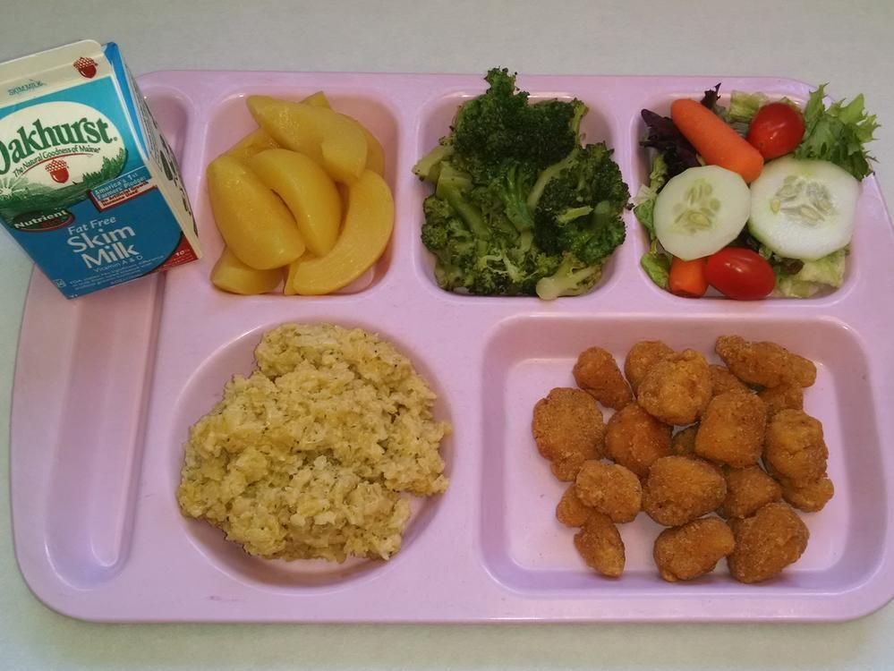 Baked Popcorn Chicken, Brown Rice Pilaf, Salad, Brown Rice
