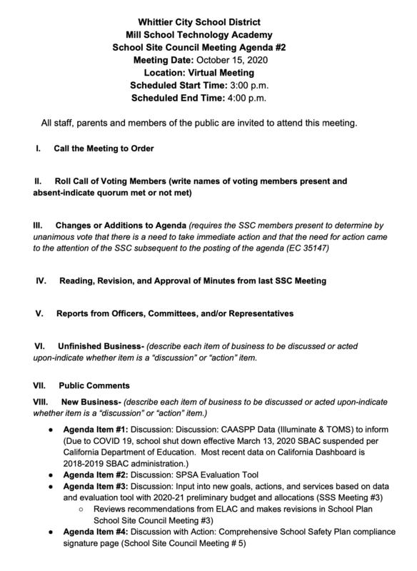 School Site Council Agenda