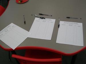 Sign-up sheets at