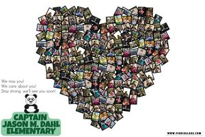 Heart-shaped collage of Dahl teachers and staff making heart hands