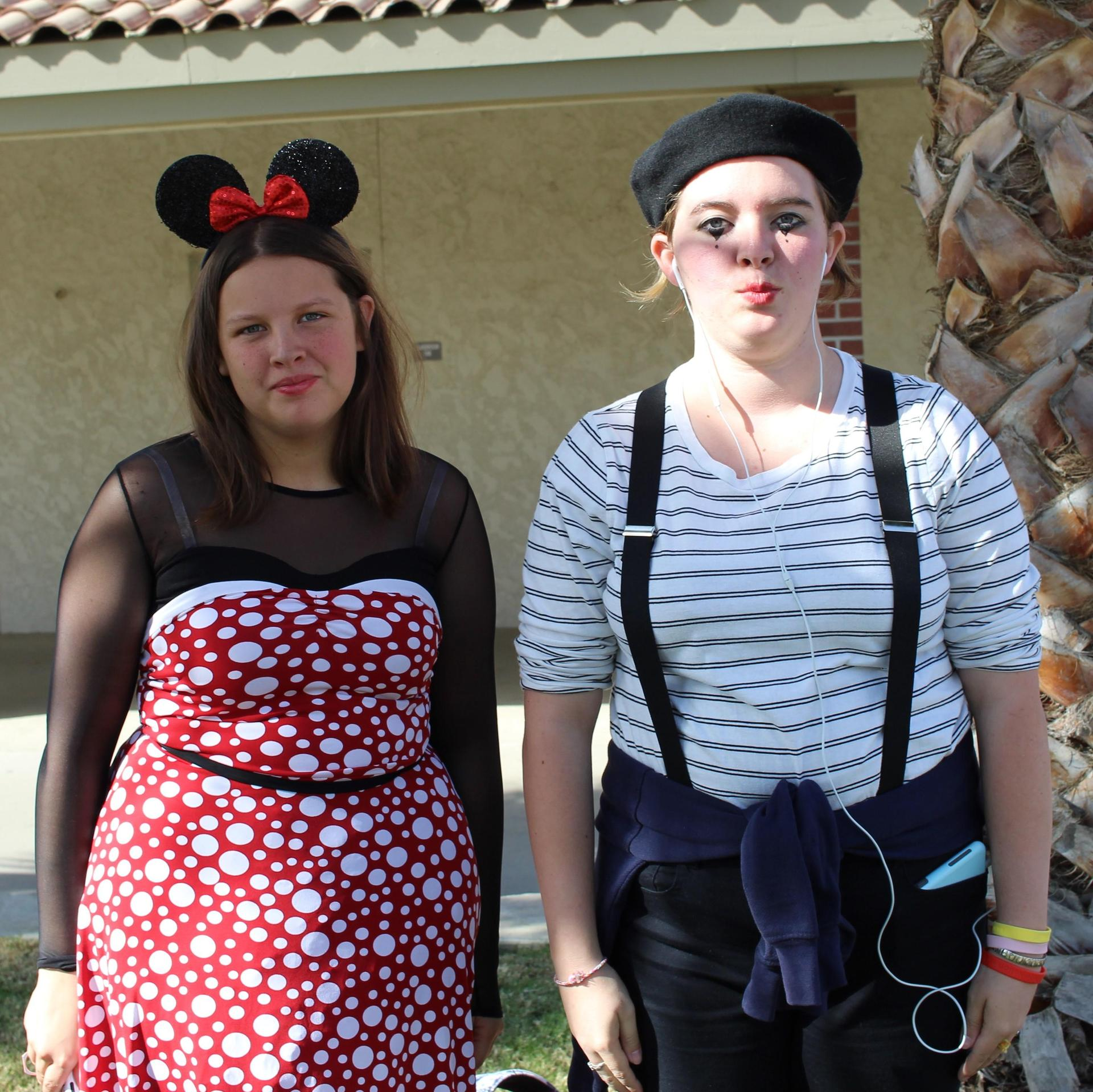 Erica Morris as Minnie Mouse, Isabel Rogers as a mime