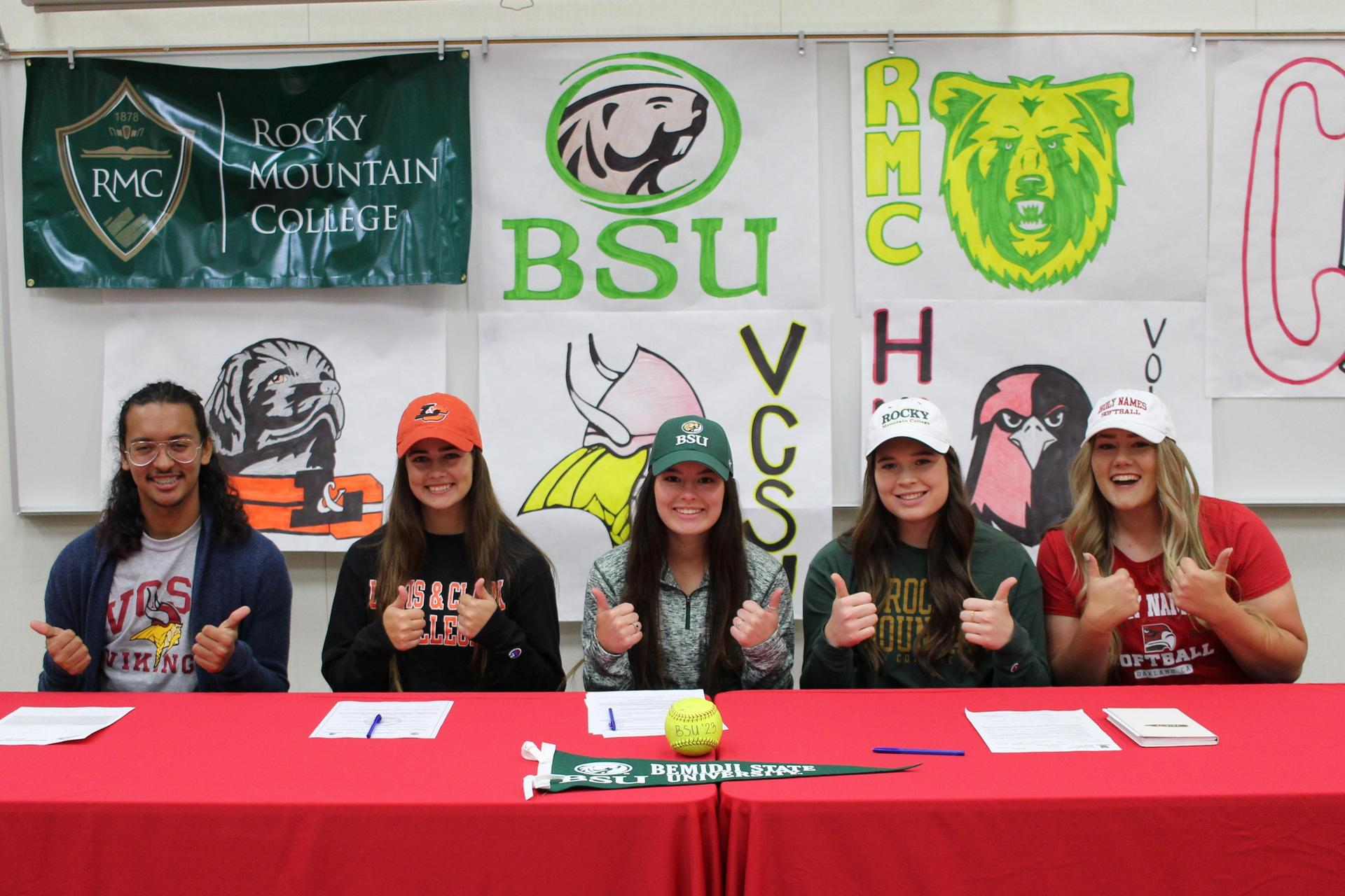 Isaac Salazar, Kylie Hill, Morgan Sewell, Claire Wright and Kelsey Volkmar are prepared to sign college letters of intent.