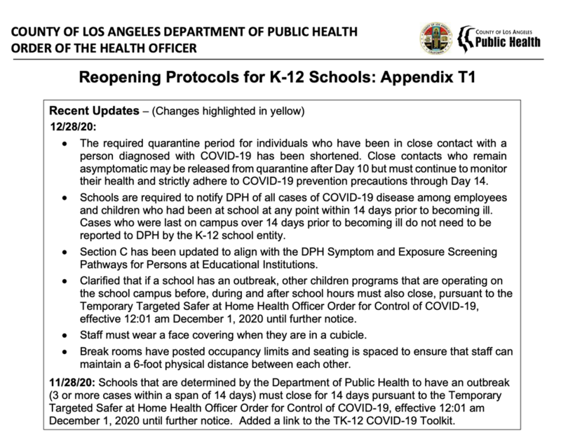 K12 Reopening Checklist - LA County Public Health Featured Photo