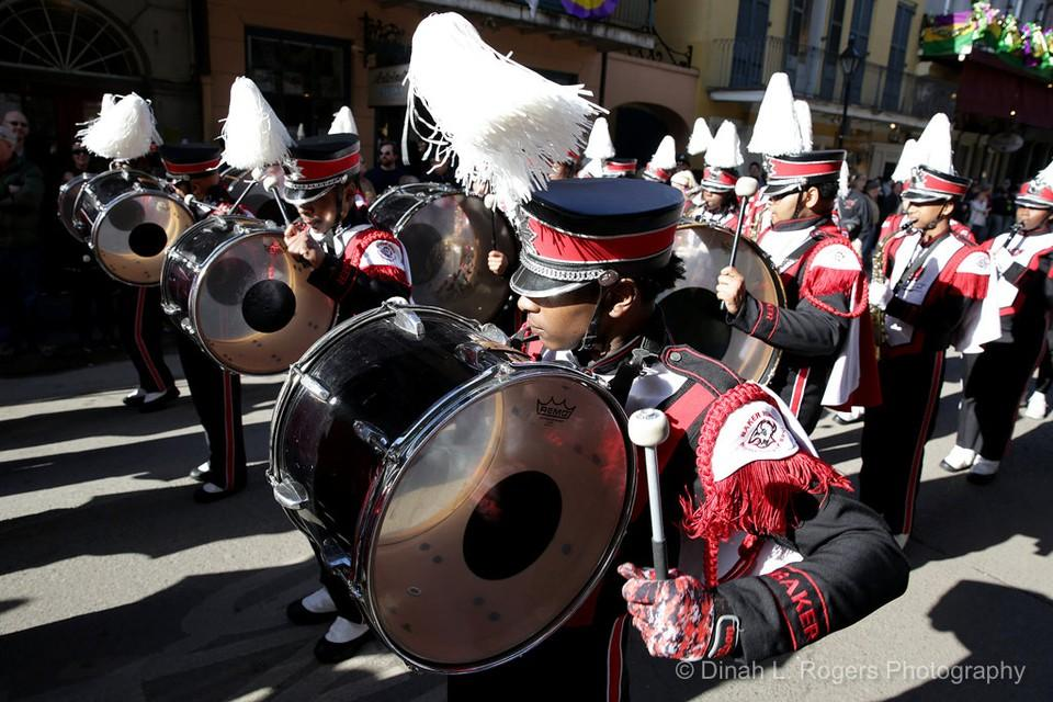photo of the Baker High School leading the Krewe of Cork parade in new orleans