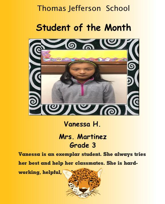vanessa student of the month