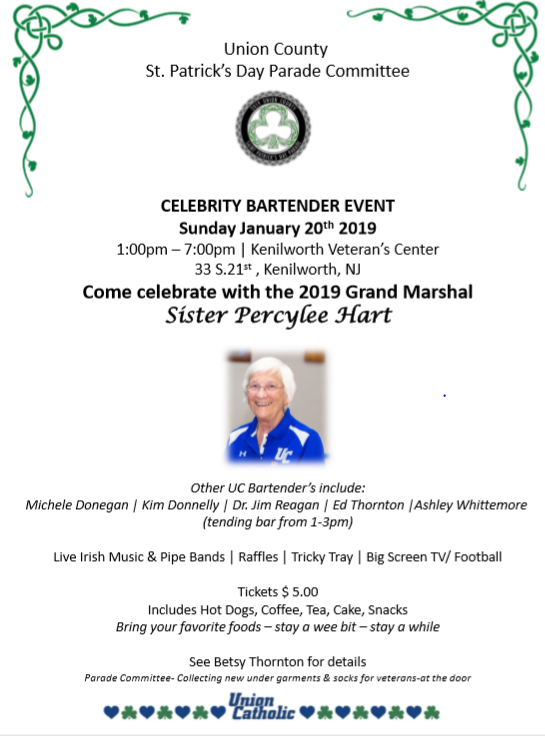 Union County St. Patrick's Day Parade Committee Hosts Celebrity Bartenders Fundraiser on Jan. 20 Thumbnail Image