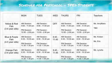 SPED Schedule