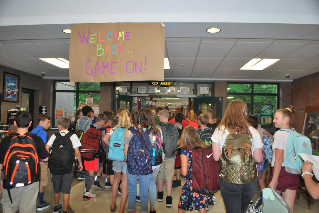 Students entering the school on the first day
