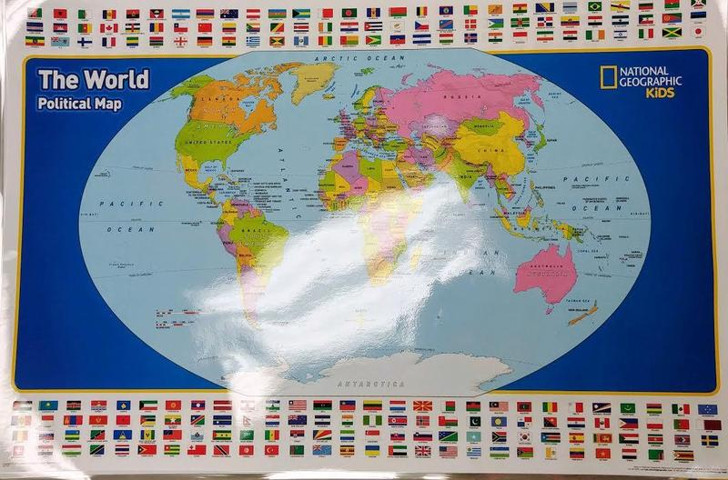 Picture of world map donated by National Geographic.