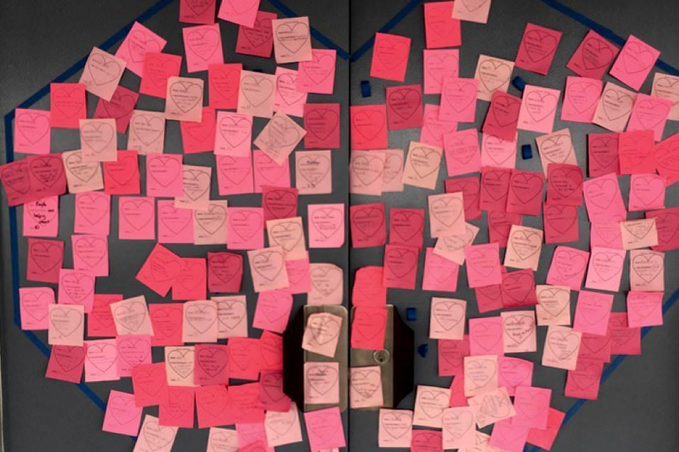 Robert M. Pyles STEM Academy Students shared their Acts of Kindness by posting them to fill Kindness Hearts