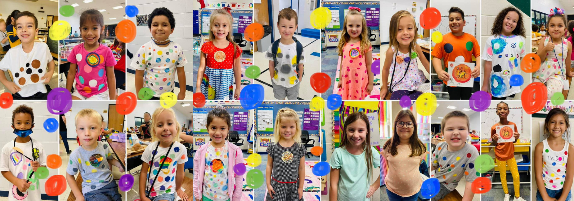 collage of elementary students wearing dots at school