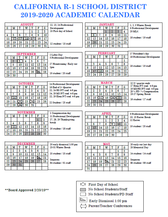 2019-2020 District Calendar - Board Approved 2/20/19 Thumbnail Image