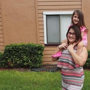 Ashlee Gainey and daughter at new apartment