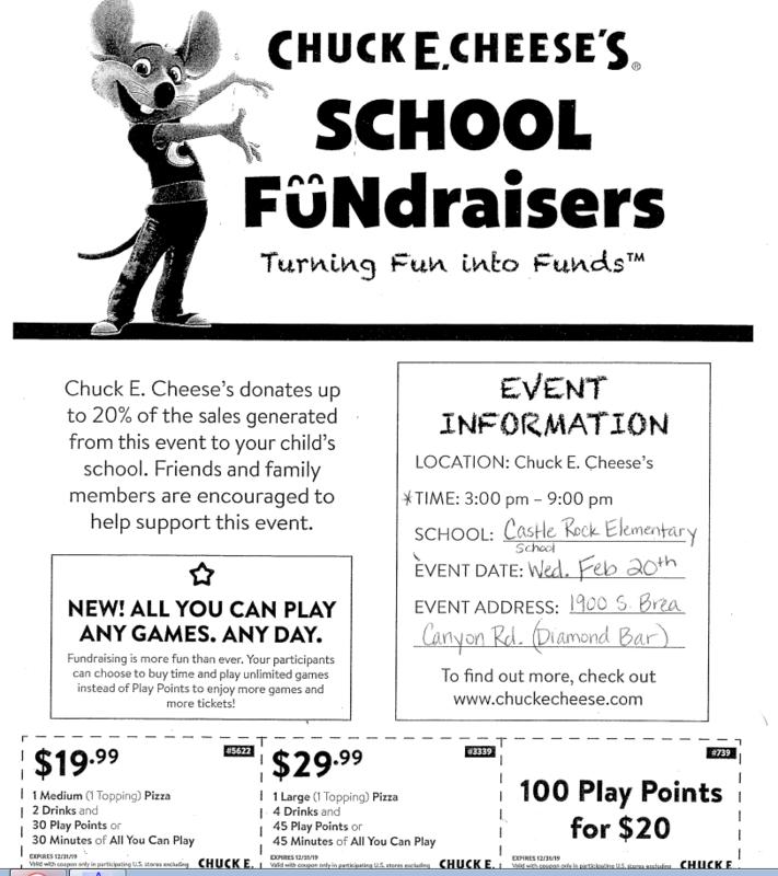 Chuck E. Cheese Fundraiser Feb. 20th!!! Featured Photo