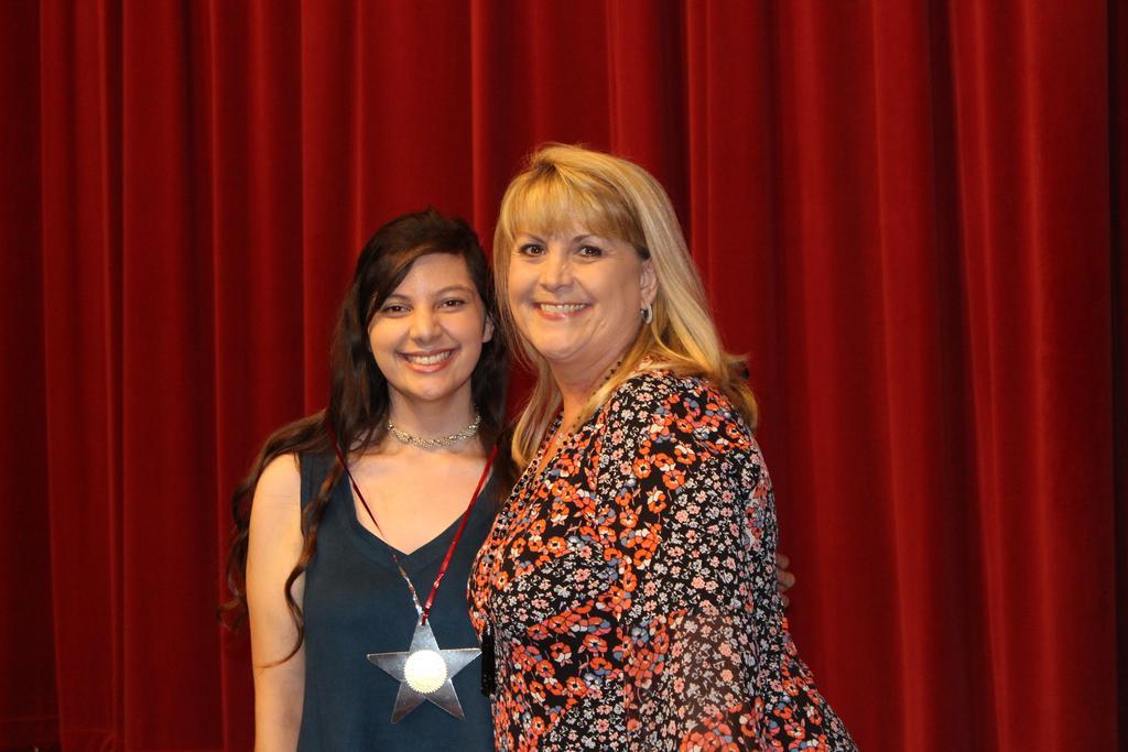 Sonny Hawkins Memorial Scholarship $500 L-R WHS Martina Guerra and presenter, Michelle Warren, WHS Counselor