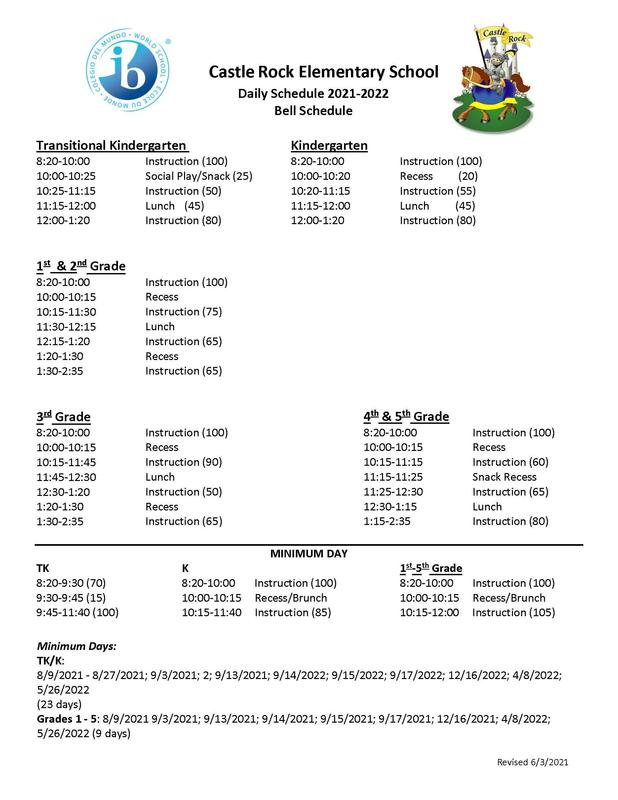 2021-2022 Bell Schedule and Minimum Days Featured Photo